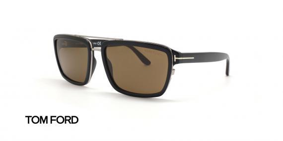 عینک آفتابی کائوچویی قهوه ای هاوانا تام فورد - عکاسی عینک وحدت - زاویه سه رخ