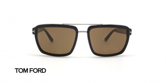 عینک آفتابی کائوچویی قهوه ای هاوانا تام فورد - عکاسی عینک وحدت - زاویه روبرو