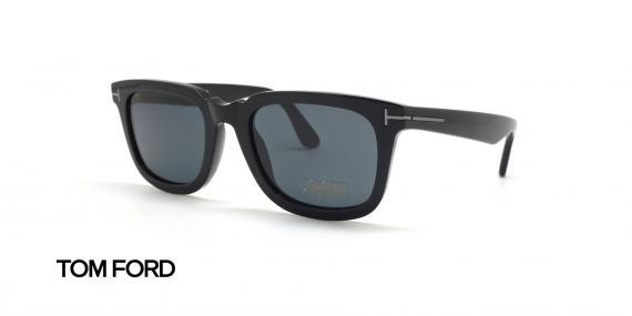 عینک آفتابی کائوچویی مشکی رنگ عدسی دودی تام فورد - زاویه سه رخ