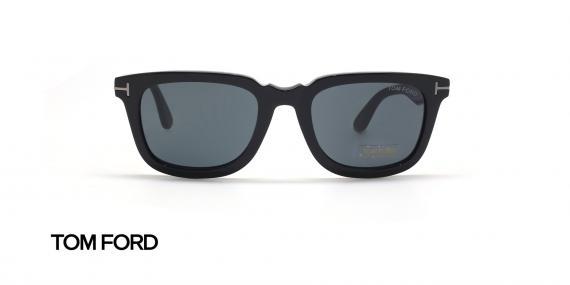 عینک آفتابی کائوچویی مشکی رنگ عدسی دودی تام فورد - زاویه روبرو