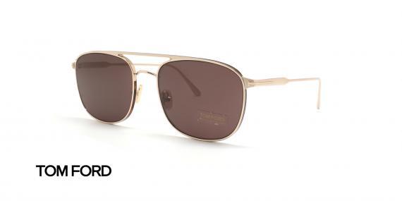 عینک آفتابی تام فورد فلزی طلایی عدسی قهوه ای رنگ - زاویه سه رخ