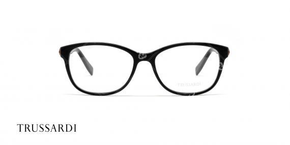 عینک طبی کائوچویی تروساردی - رنگ بدنه مشکی- عکاسی وحدت - زاویه رو به رو
