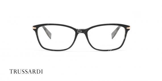 عینک طبی کائوچویی تروساردی - رنگ بدنه مشکی هاوانا - عکاسی وحدت - زاویه رو به رو
