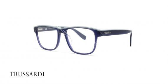 عینک طبی تروساردی فریم آبی کائوچویی VTR025 - عکاسی وحدت- زاویه سه رخ