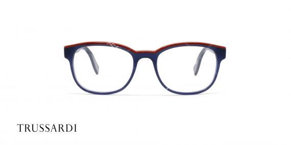 عینک طبی تروساردی فریم آبی کائوچویی VTR027 - عکاسی وحدت- زاویه رو به رو