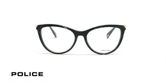 عینک طبی گربه ای پلیس - POLICE VPL842 GRACE1 - مشکی طلایی - عکاسی وحدت - زاویه روبرو