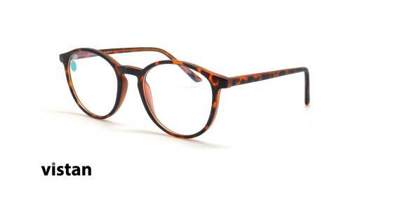 عینک آماده بلوکنترل گرد ویستان VISTAN OB0328 XL - قهوه ای هاوانا - عکاسی وحدت - زاویه سه رخ